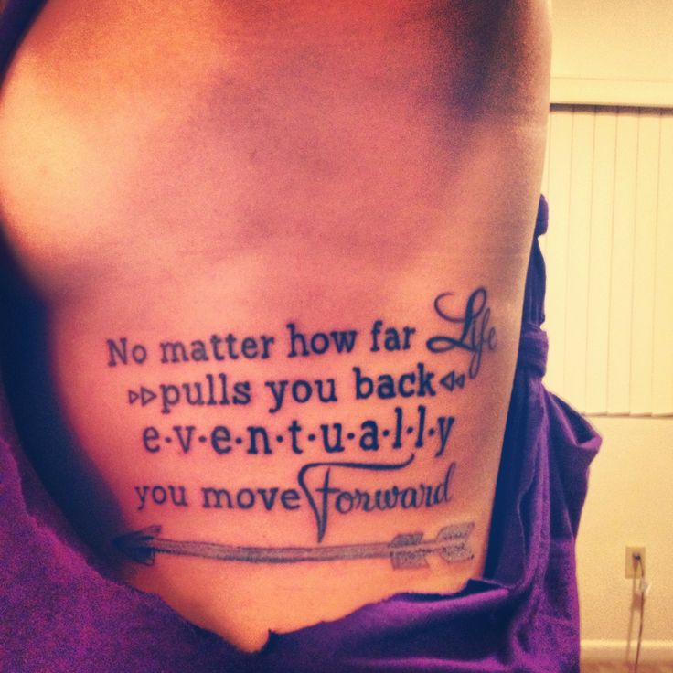 Quote And Grey Arrow Tattoo On Ribs