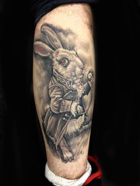 Rabbit With Clock Portrait Tattoo On Leg