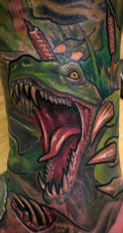 Raptor Dino Teeth Mouth Claw Tattoo