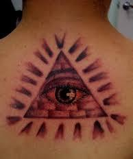 Rays And Eye Pyramid Tattoos On Upperback