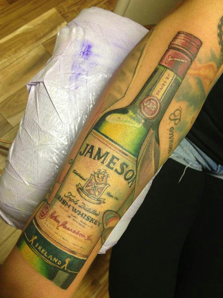 Real Looking Green Whiskey Bottle Tattoo