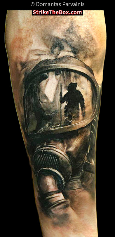 Real Looking Helmet Tattoo (2)