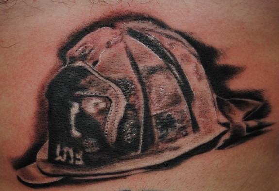 Real Looking Helmet Tattoo