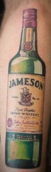 Real Looking Jameson Bottle Tattoo