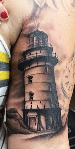 Real Looking Lighthouse Tattoo On Biceps