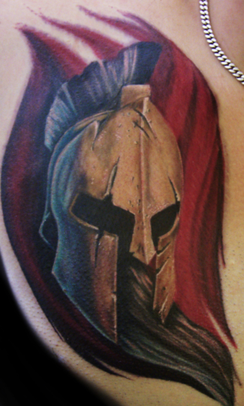 Real Looking Spartan Helmet Tattoo (2)