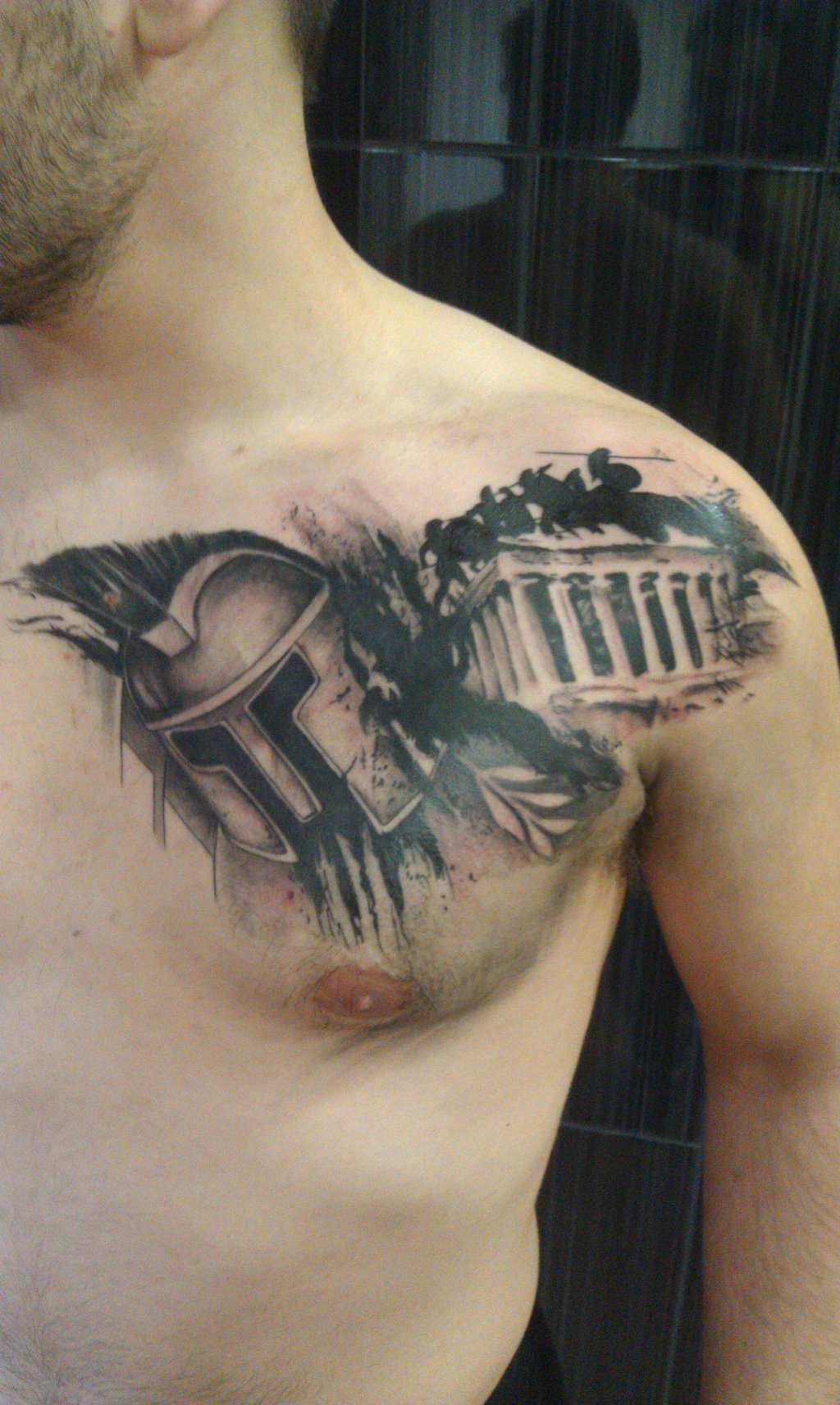 Real Looking Spartan Helmet With Parthenon Tattoos On Chest