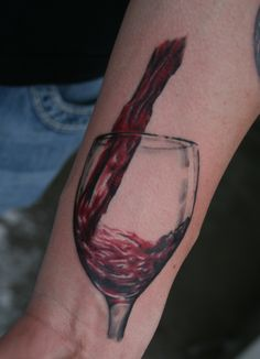 Real Looking Wine Glass Tattoo On Wrist