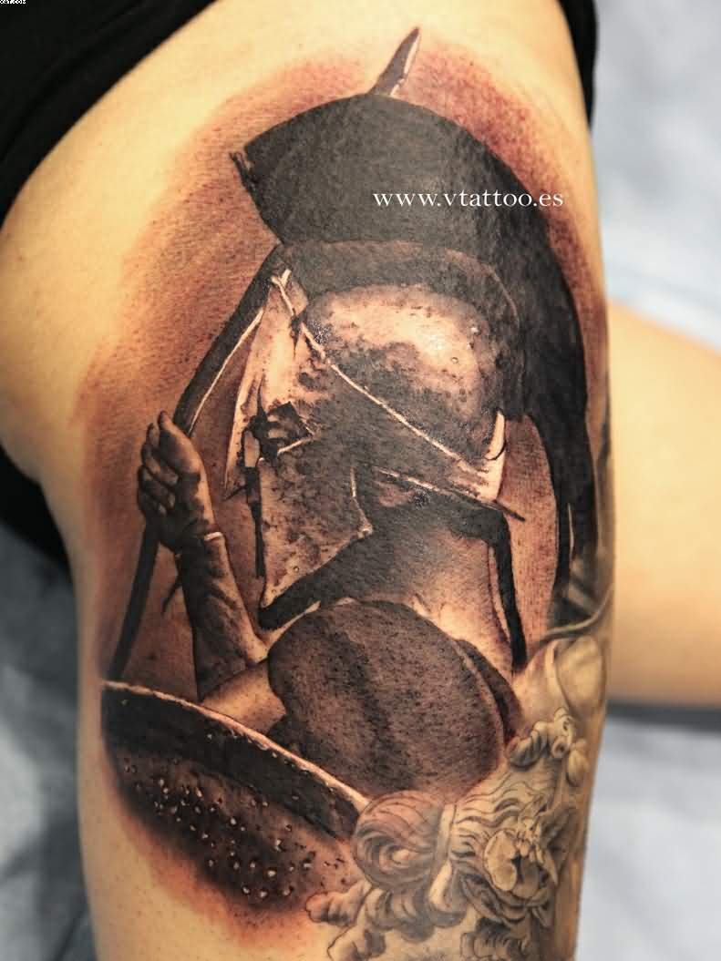 Realism Spartan Head In Helmet Tattoo On Shoulder