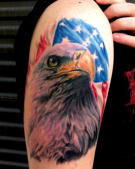 Realistic American Flag And Eagle Tattoos On Biceps