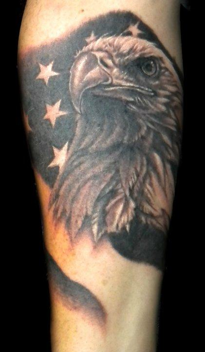Realistic American Flag And Eagle Tattoos