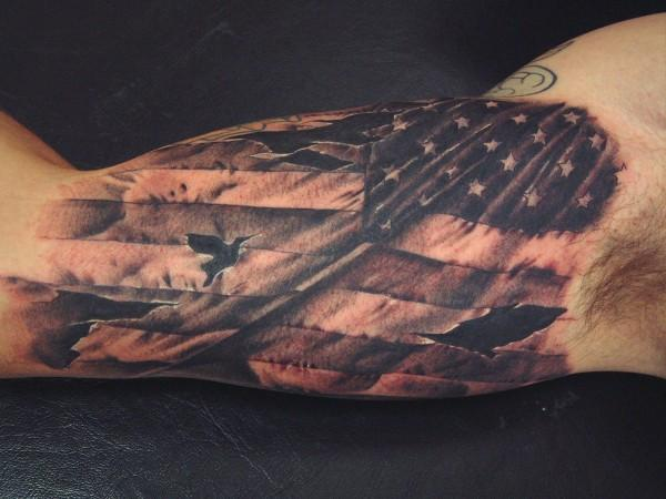 Realistic American Flag Tattoo On Inner Arm