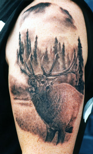 Realistic Animal In Forest Tattoo