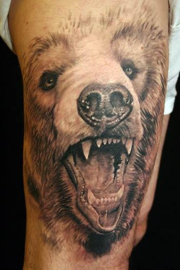 Realistic Animal Open Mouth Tattoo On Biceps