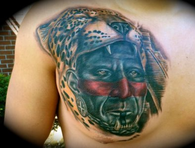 Realistic Aztec Jaguar And Pyramid Tattoos On Back Shoulder