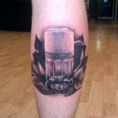 Realistic Beer Glass Tattoo On Calf