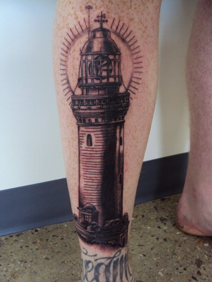 Realistic Black And Grey Lighthouse Tattoo On Leg