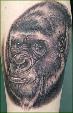 Realistic Black Gorilla Tattoo