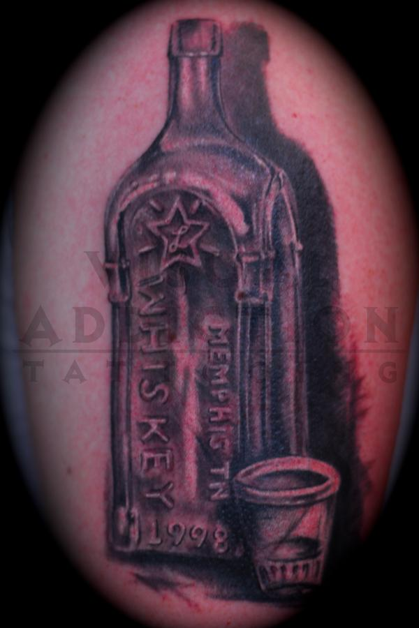 Realistic Bottle And Glass Tattoos