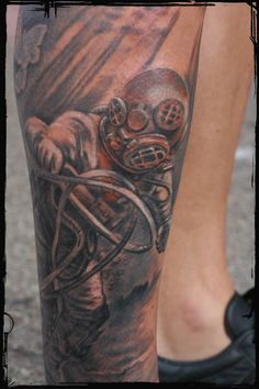 Realistic Diver Wearing Helmet Tattoo On Leg Sleeve