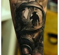 Realistic Fire Fighter Helmet Tattoo