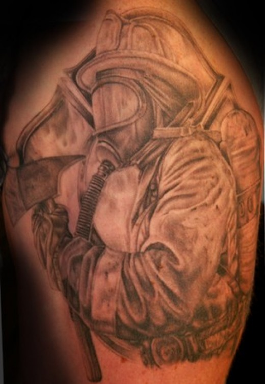 Realistic Firefighter With Helmet Tattoo
