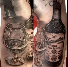 Realistic Glass And Whiskey Tattoos