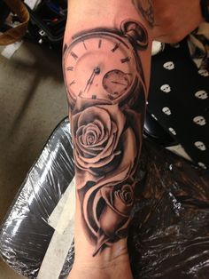 Realistic Glass Clock And Rose Tattoos