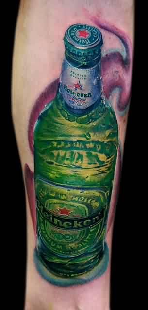 Realistic Green Heineken Bottle Tattoo