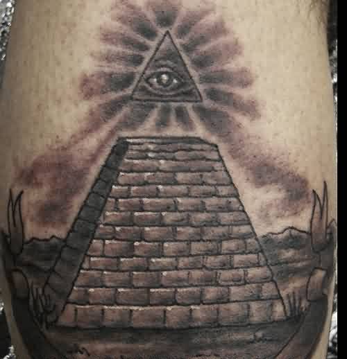 Realistic Grey Eye Pyramid Tattoo