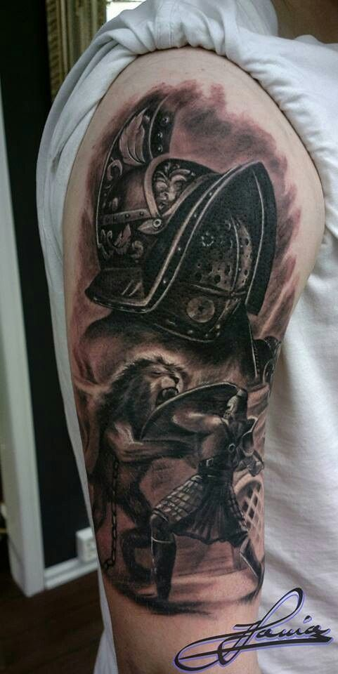 Realistic Helmet And Warrior Fight Tattoos On Half Sleeve