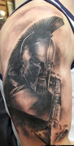 Realistic Helmet Warrior Tattoo On Biceps