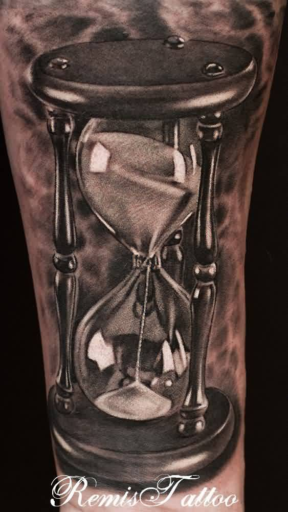 Realistic Hour Glass Tattoo