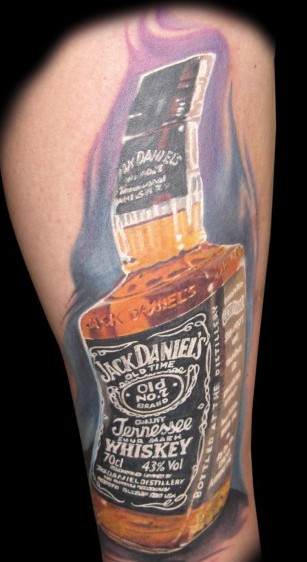 Realistic Jack Daniels Bottle Tattoo