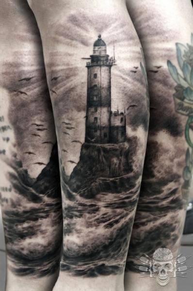 Realistic  Lighthouse And Bird Tattoos