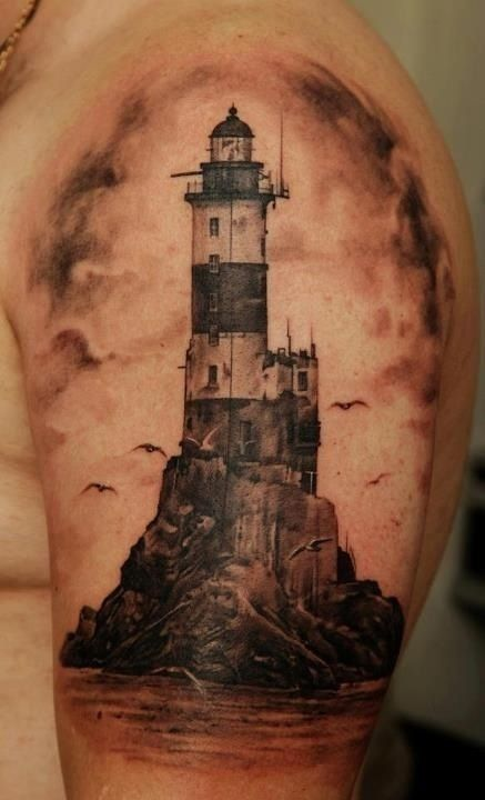 Realistic Lighthouse Tattoo On Biceps