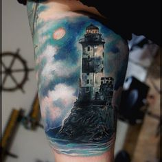 Realistic Lighthouse Tattoo On Muscles