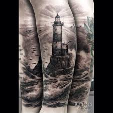 Realistic Lighthouse Tattoo On Sleeve