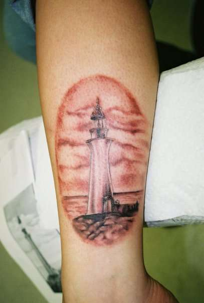 Realistic Lighthouse Tattoo