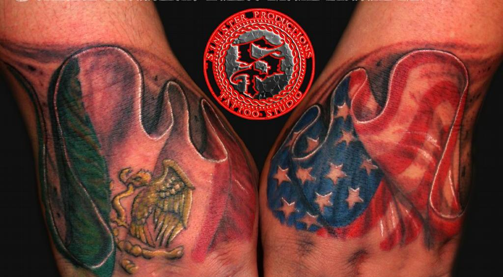 Realistic Mexican And American Flag Tattoos On Hands