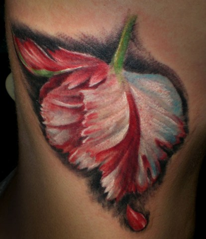 Realistic New Moon Tulip Flower Tattoo