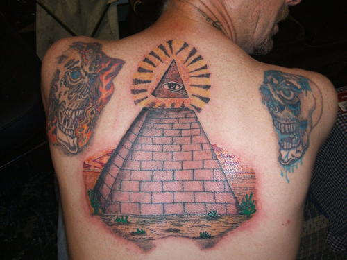 Realistic Pyramid Tattoo On Back For Men