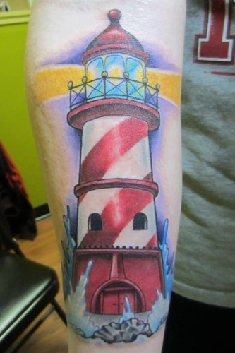 Realistic Red-Black Lighthouse Tattoo