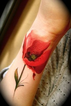 Realistic Red Tulip Tattoo On Wrist