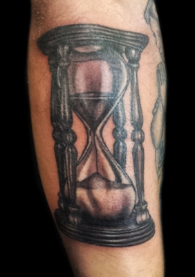 Realistic Sand Glass Tattoo On Arm