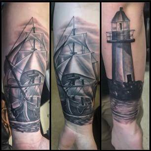 Realistic Ship And Lighthouse Tattoos