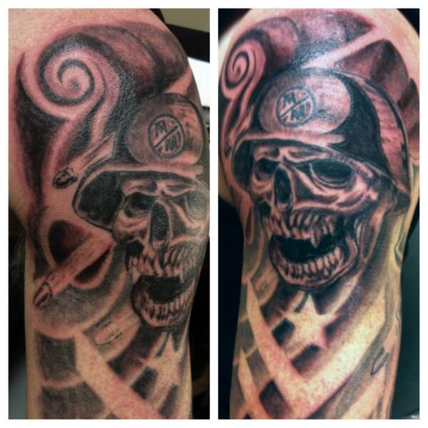 Realistic Skull Helmet Tattoo On Shoulder