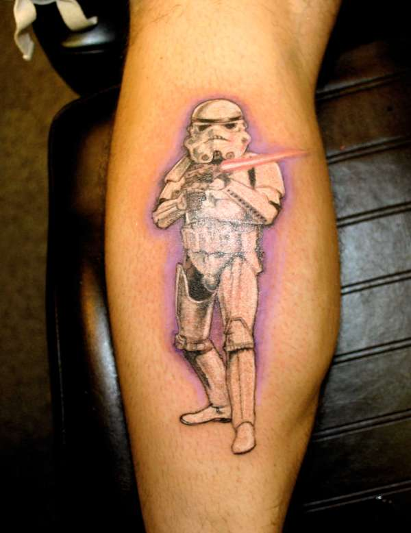 Realistic Stormtrooper Wearing Helmet Tattoo
