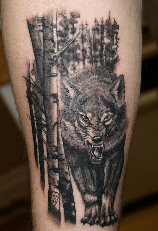 Realistic Trees And Angry Wolf Tattoos
