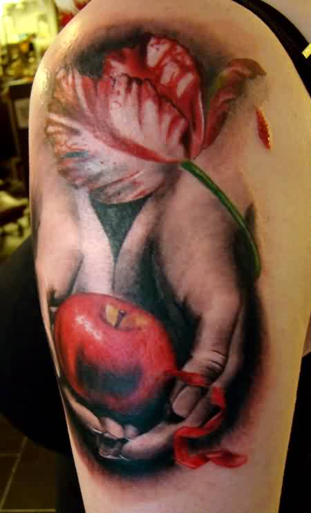Realistic Tulip And Twilight Tattoos